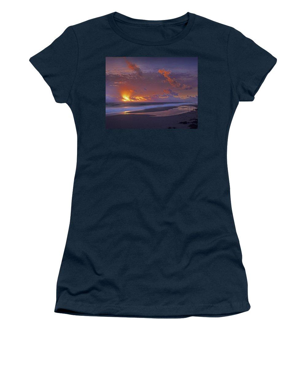 00175852 Women's T-Shirt featuring the photograph Mcarthur Beach At Sunrise Florida by Tim Fitzharris