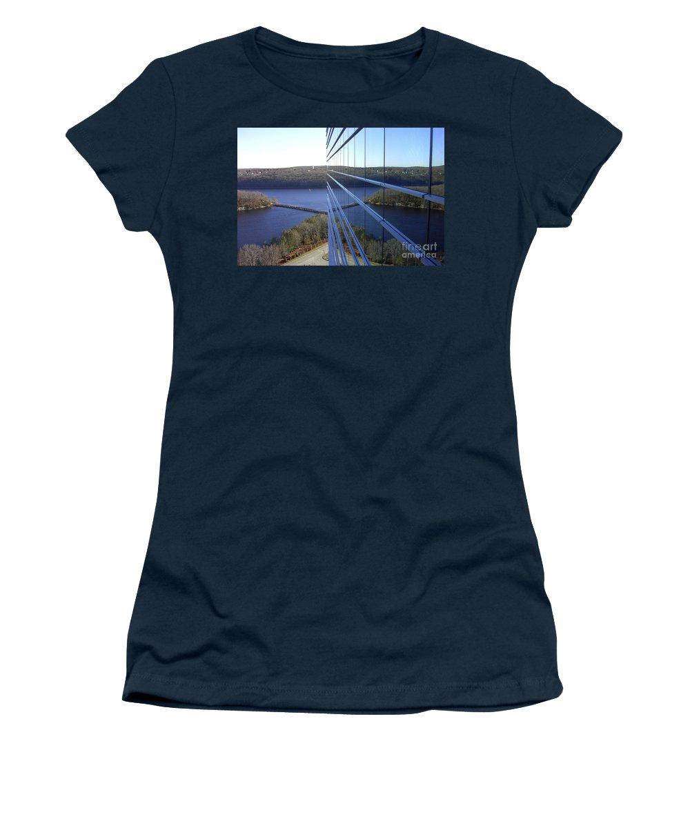 Mohegan Sun Women's T-Shirt featuring the photograph Mohegan Sun Reflections by Mike Nellums