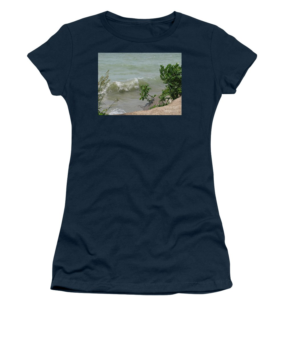Lake Women's T-Shirt (Athletic Fit) featuring the photograph Pelee Shore by Ann Horn