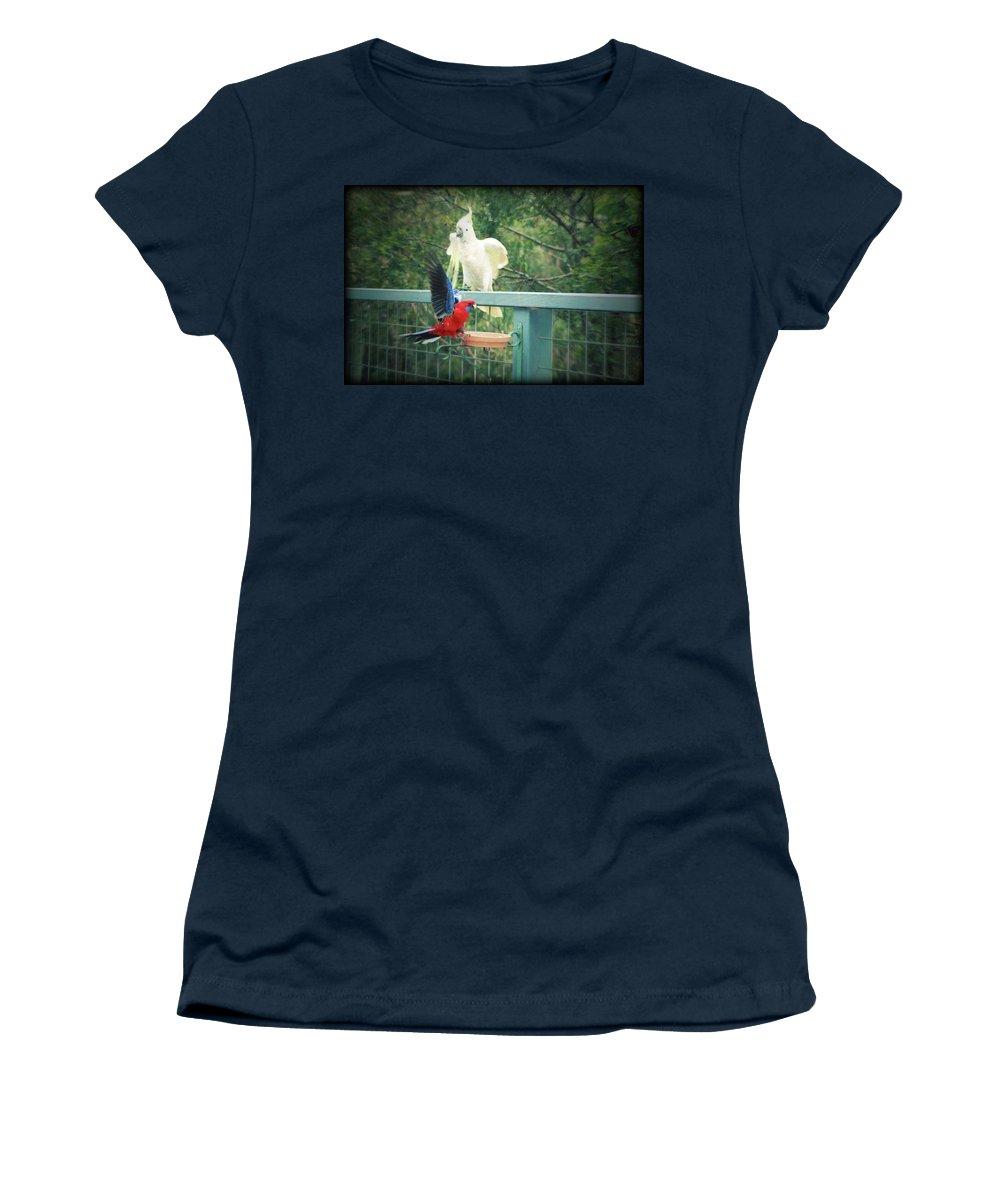 Birds Women's T-Shirt featuring the photograph Raucous At The Feeding Bowl by Douglas Barnard