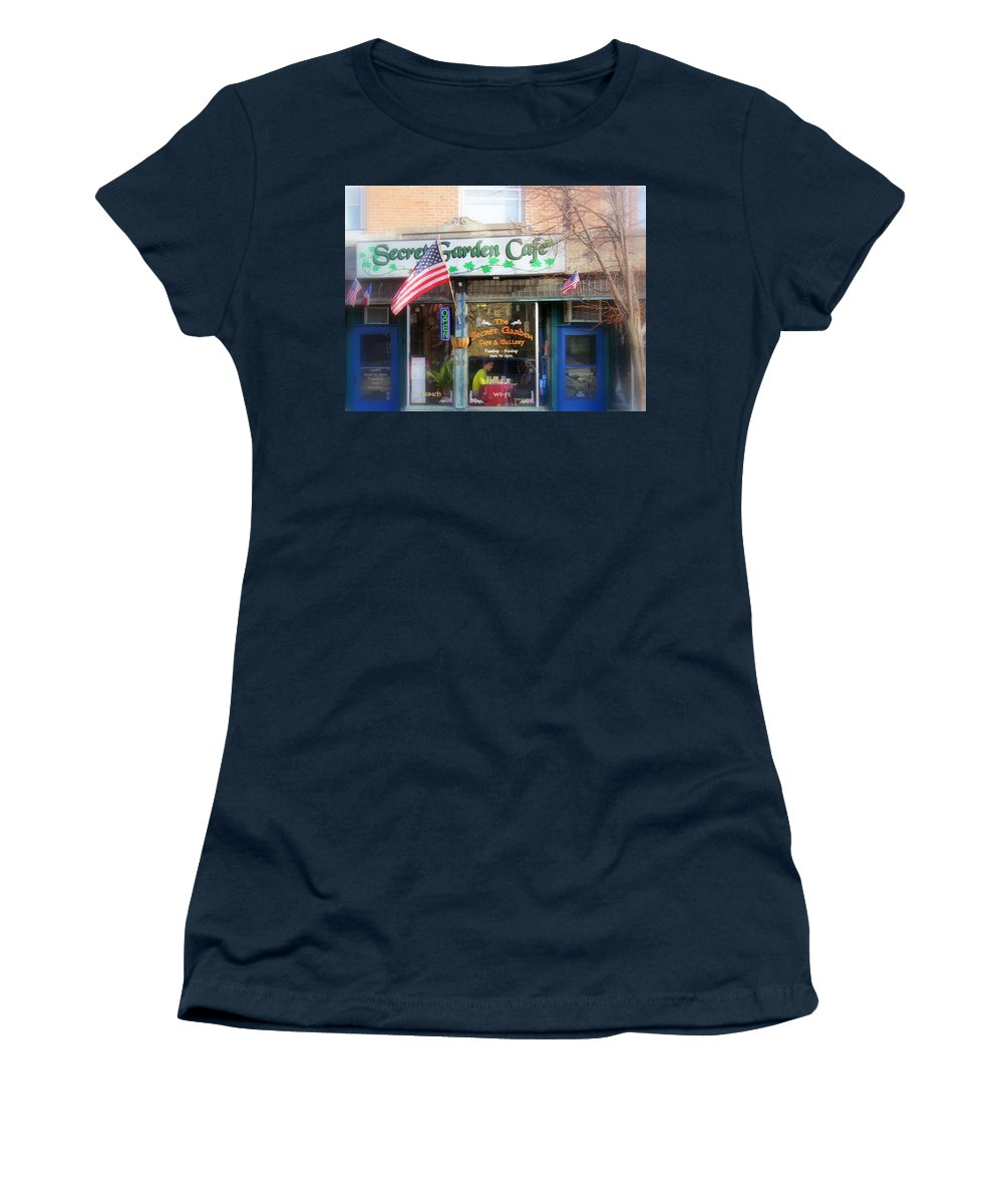 Patriotic Women's T-Shirt (Athletic Fit) featuring the photograph Secret Garden Cafe by Kay Novy