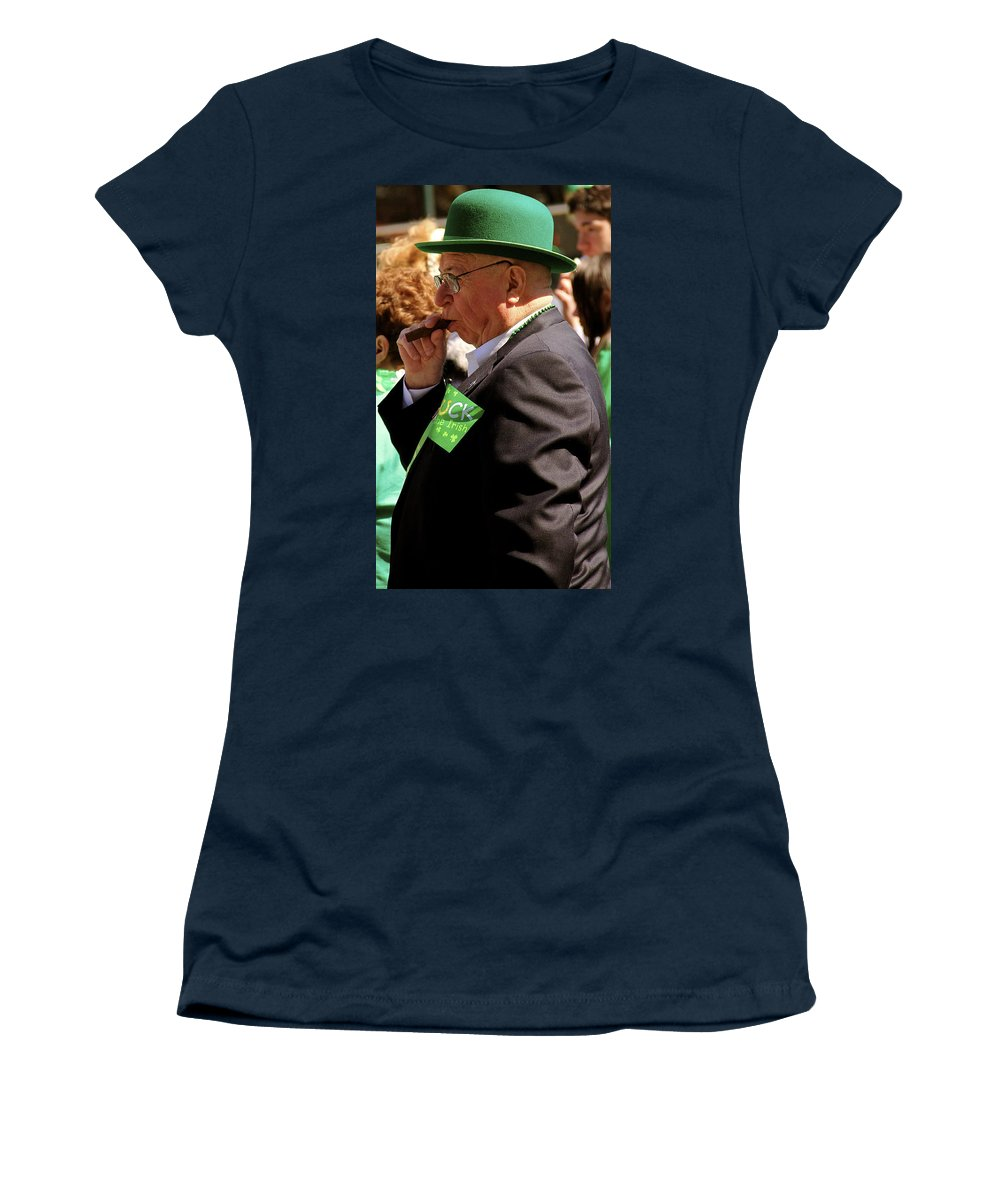St Pattys Day Parade Philadelphia Man Smoking Cigar Green Fedora Portrait Women's T-Shirt featuring the photograph St Pattys Green by Alice Gipson