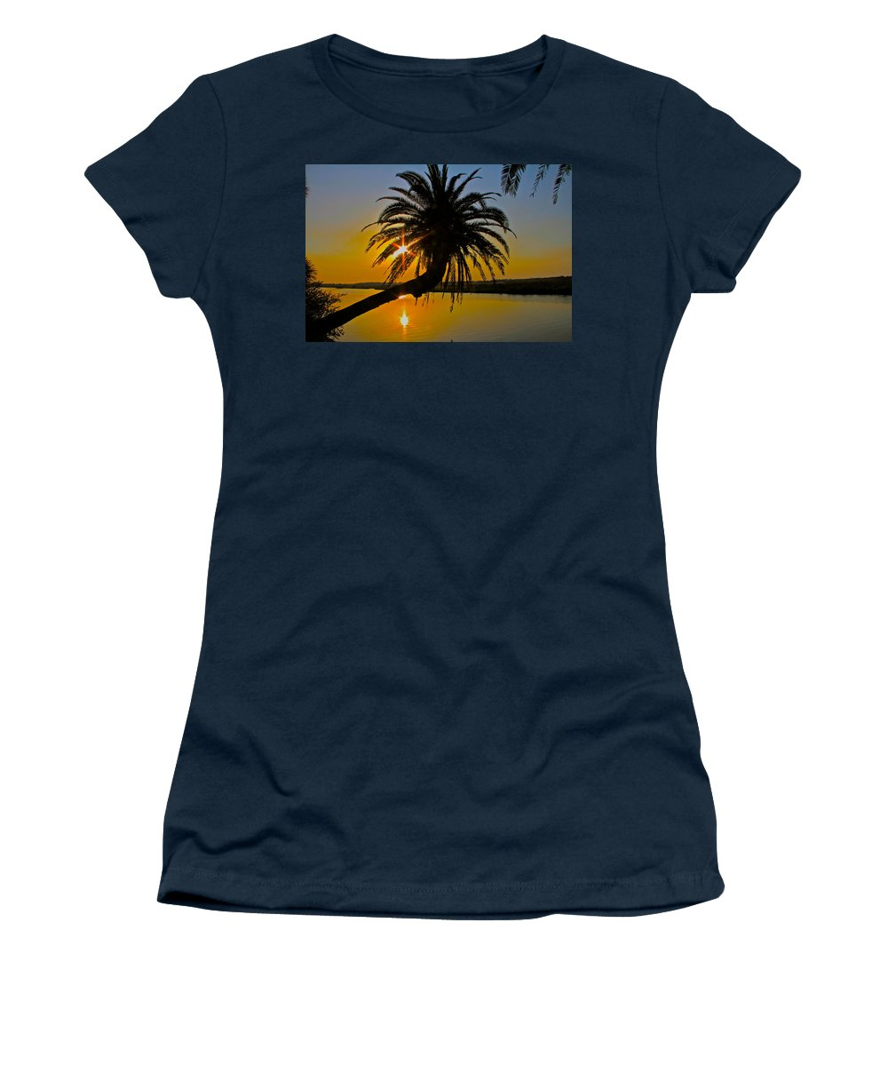 Loop Flagler Beach Palm Tree Sunrise Starburst Women's T-Shirt (Athletic Fit) featuring the photograph Sunrise On The Loop by Alice Gipson
