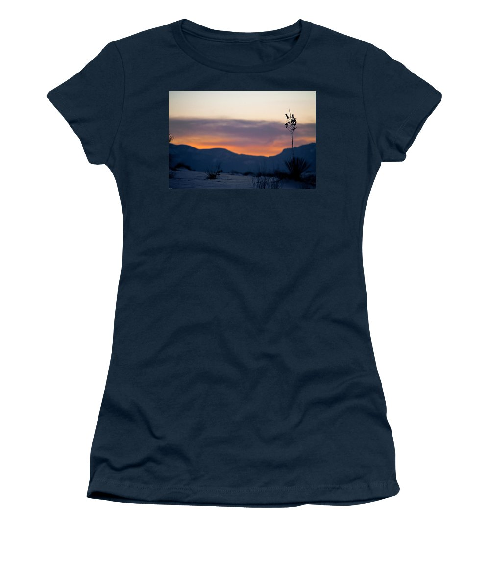 White Sands National Monument Women's T-Shirt featuring the photograph Sunset At White Sands by Ralf Kaiser