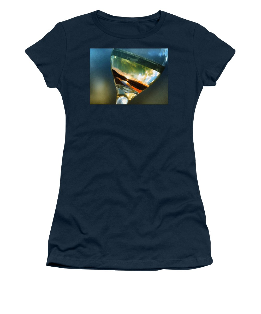 Digital Collage Women's T-Shirt (Athletic Fit) featuring the digital art Sunset In A Glass by Diane Dugas