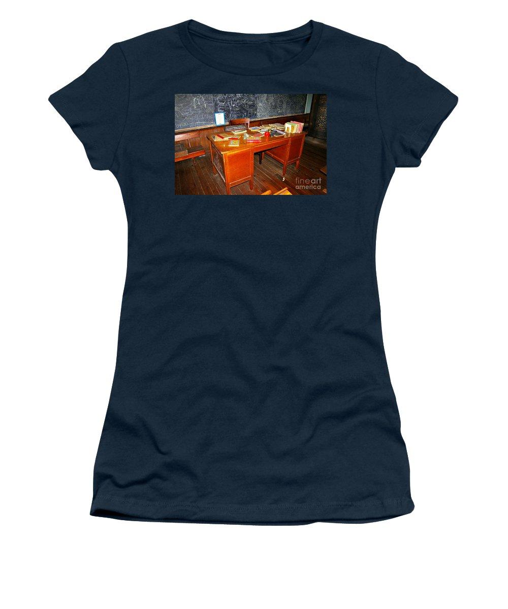 School Women's T-Shirt featuring the photograph Teacher's Desk by Rich Walter