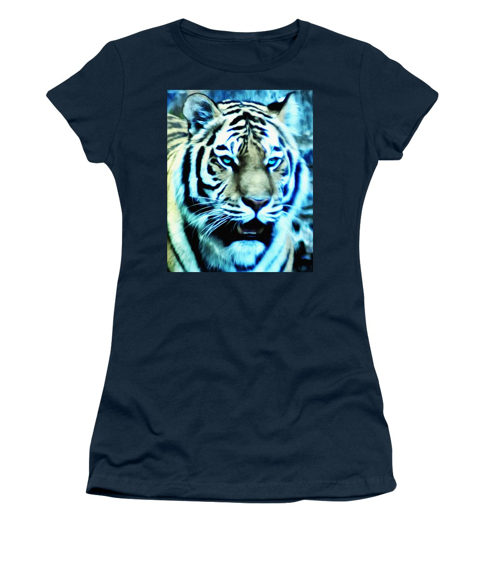 The Fierce Tiger Women's T-Shirt featuring the photograph The Fierce Tiger by Bill Cannon