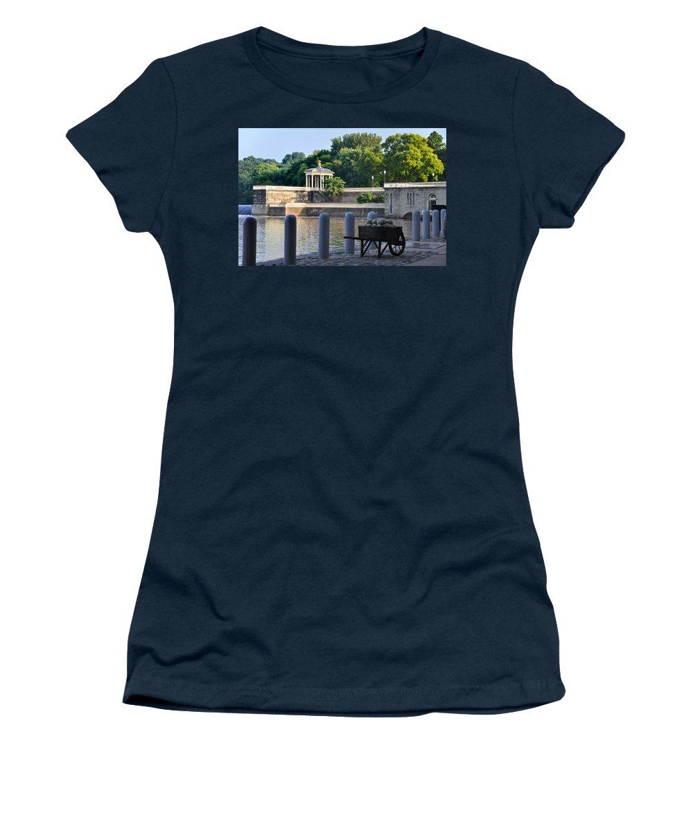 Waterworks Women's T-Shirt featuring the photograph The Waterworks Wheelbarrow - Philadelphia by Bill Cannon