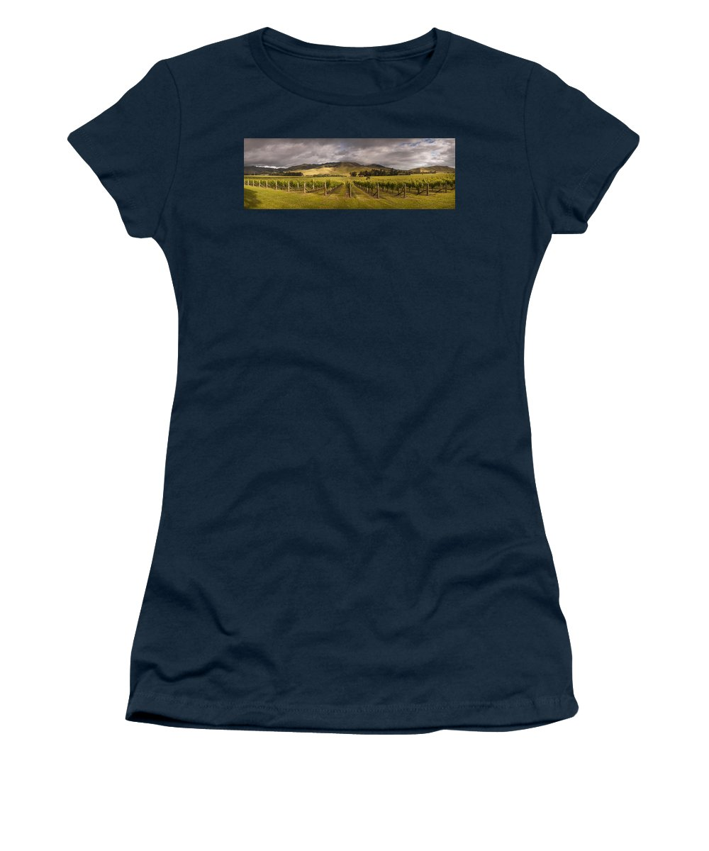 00479623 Women's T-Shirt featuring the photograph Vineyard Awatere Valley In Marlborough by Colin Monteath