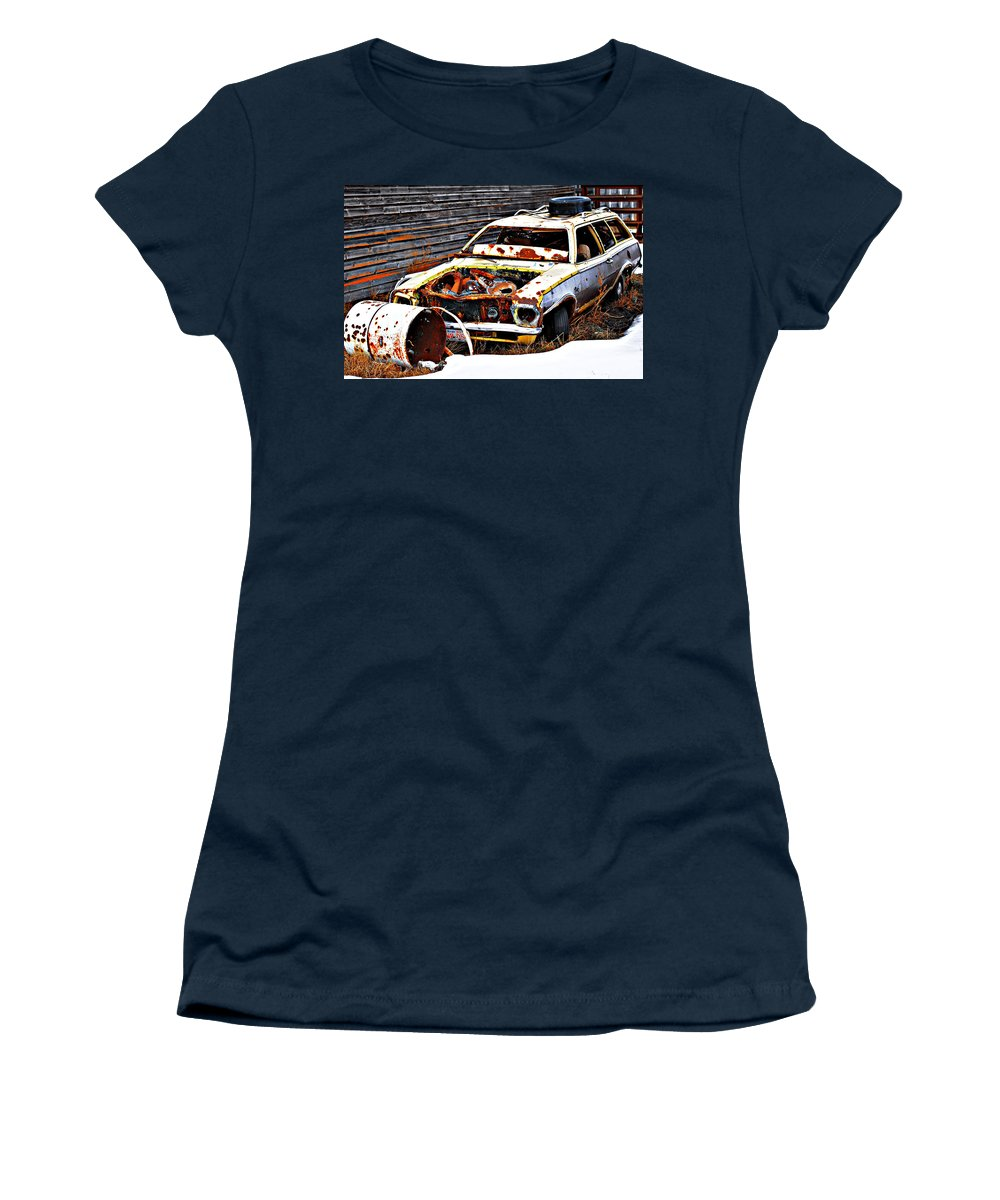 Photographs Framed Prints Framed Prints Women's T-Shirt featuring the photograph Wagon Of Rust by The Artist Project