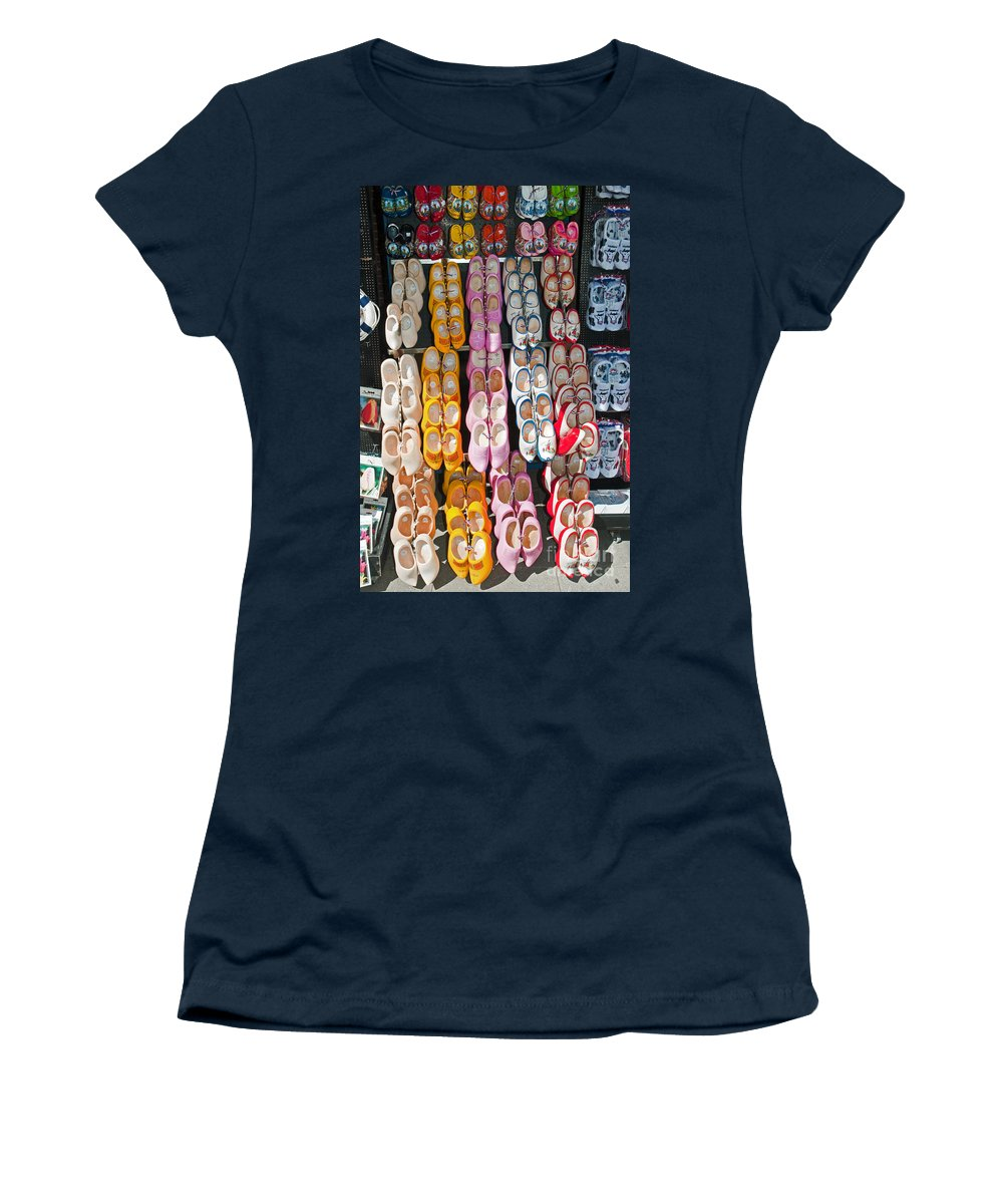 Row Women's T-Shirt featuring the photograph Wooden Shoes by Jim Chamberlain