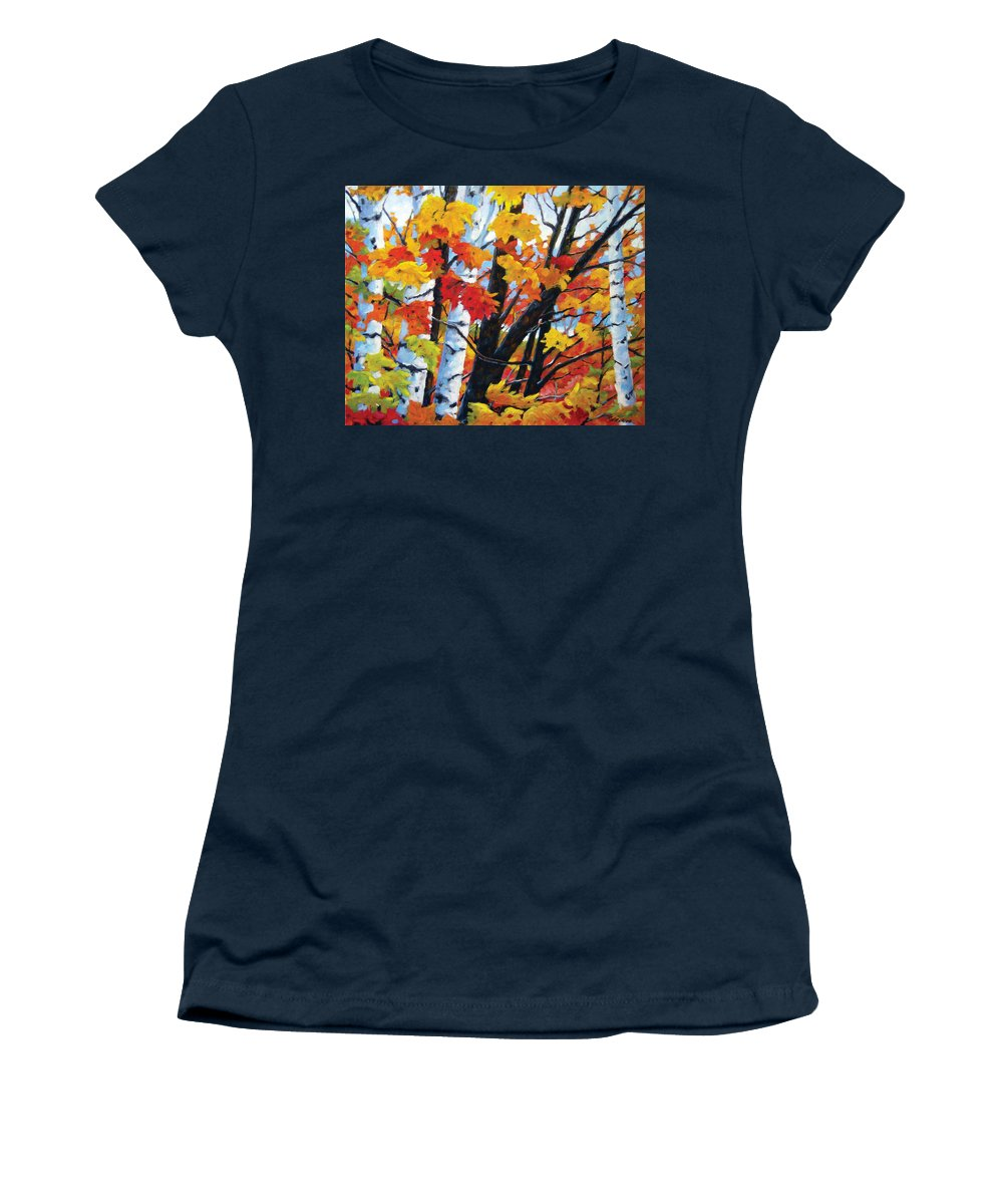 Art Women's T-Shirt (Athletic Fit) featuring the painting A Touch Of Canada by Richard T Pranke