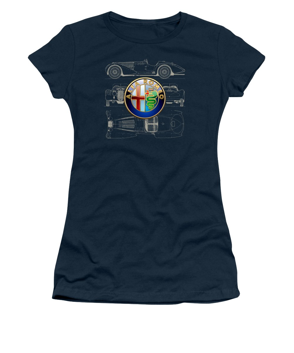 �wheels Of Fortune� By Serge Averbukh Women's T-Shirt featuring the photograph Alfa Romeo 3 D Badge Over 1938 Alfa Romeo 8 C 2900 B Vintage Blueprint by Serge Averbukh
