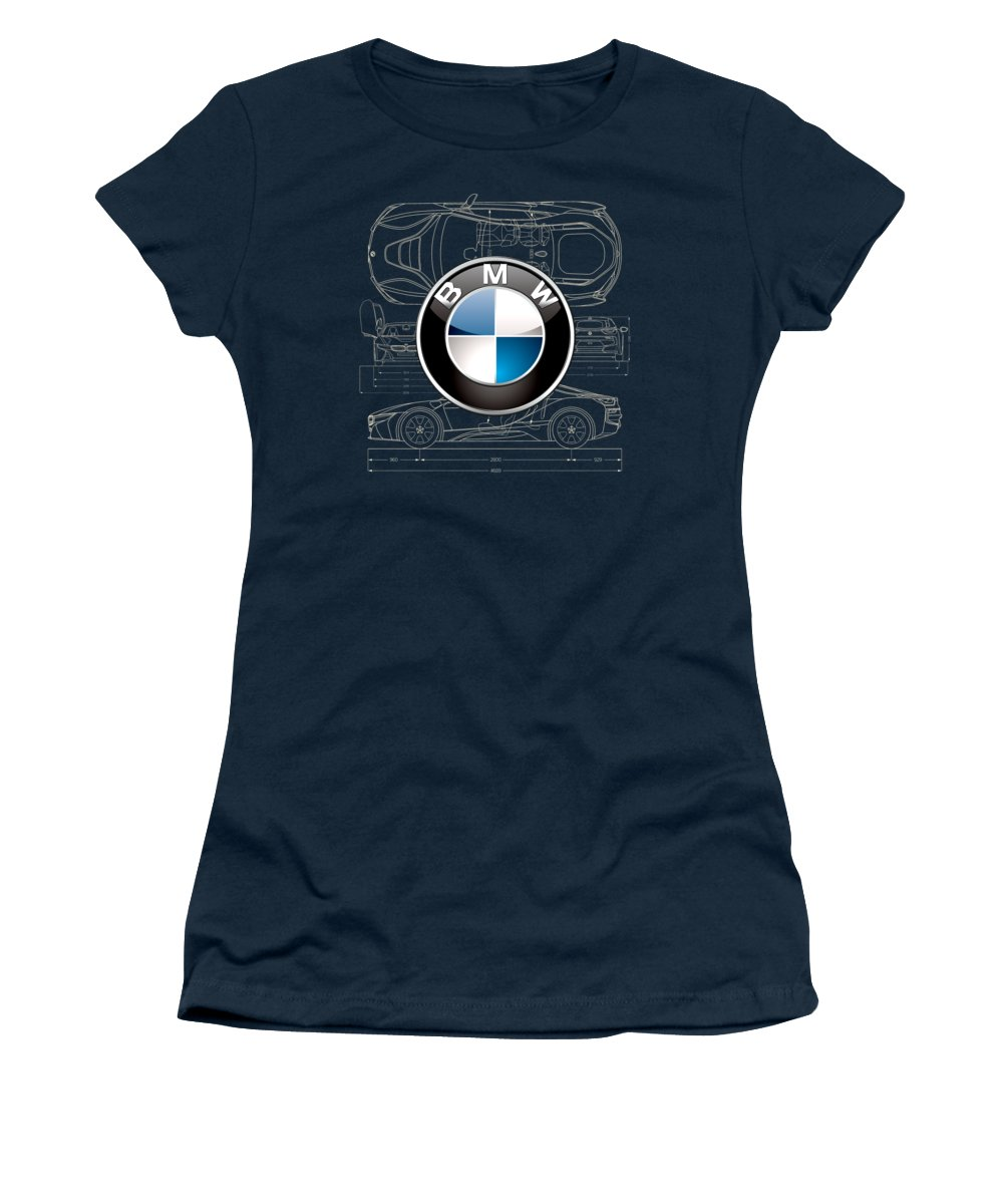 �wheels Of Fortune� By Serge Averbukh Women's T-Shirt featuring the photograph B M W 3 D Badge Over B M W I8 Blueprint by Serge Averbukh