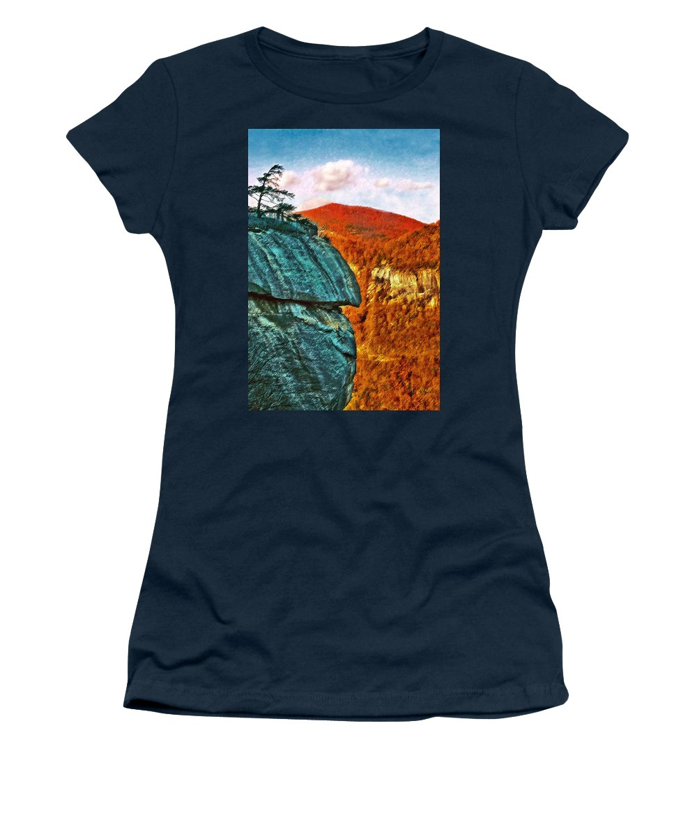 Landscape Women's T-Shirt (Athletic Fit) featuring the painting Chimney Rock by Steve Karol