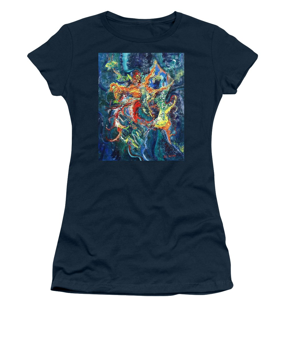 Butterfly Paintings Women's T-Shirt (Athletic Fit) featuring the painting Dancing Butterflies by Seon-Jeong Kim