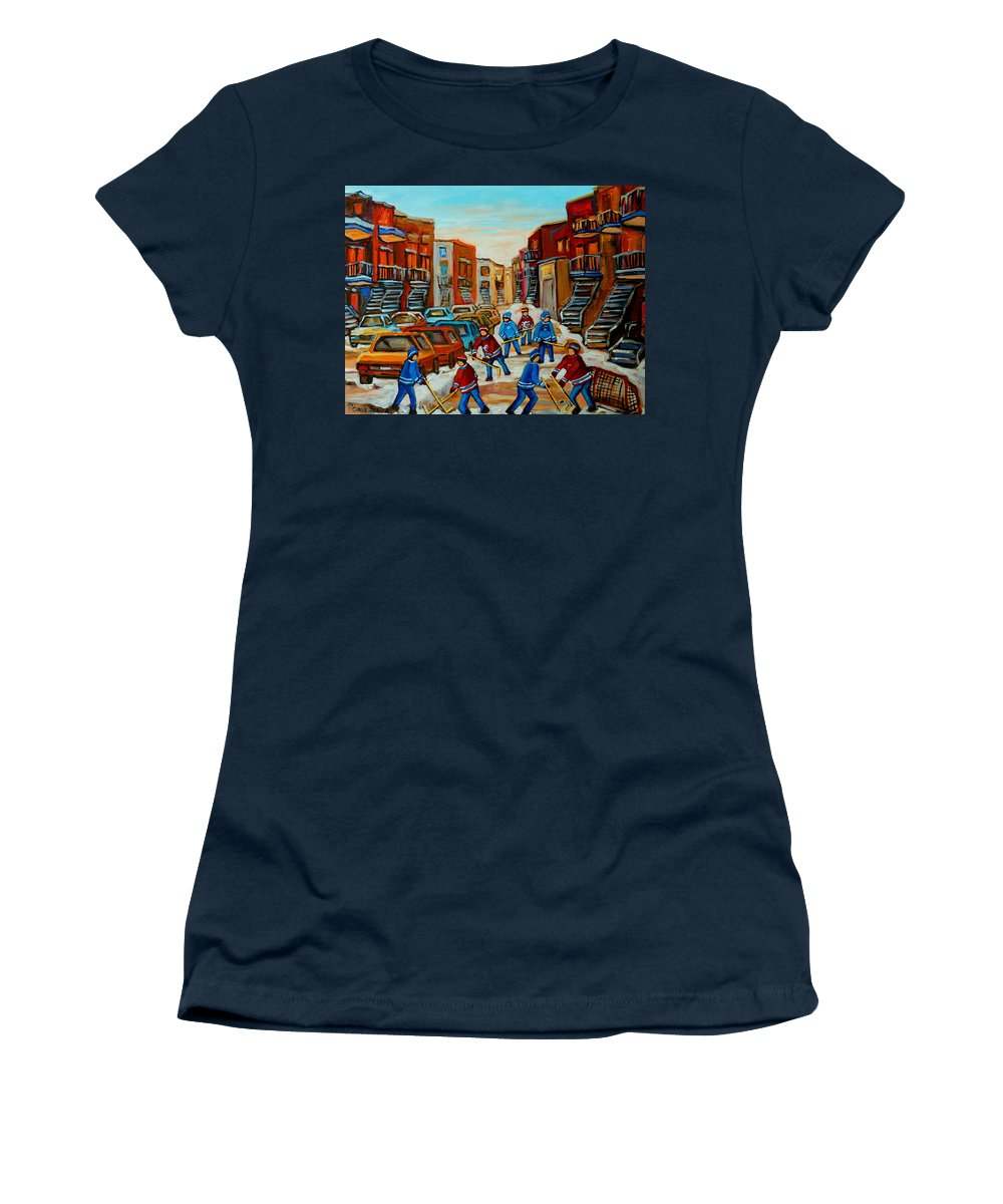 Heat Of The Game Women's T-Shirt (Athletic Fit) featuring the painting Heat Of The Game by Carole Spandau