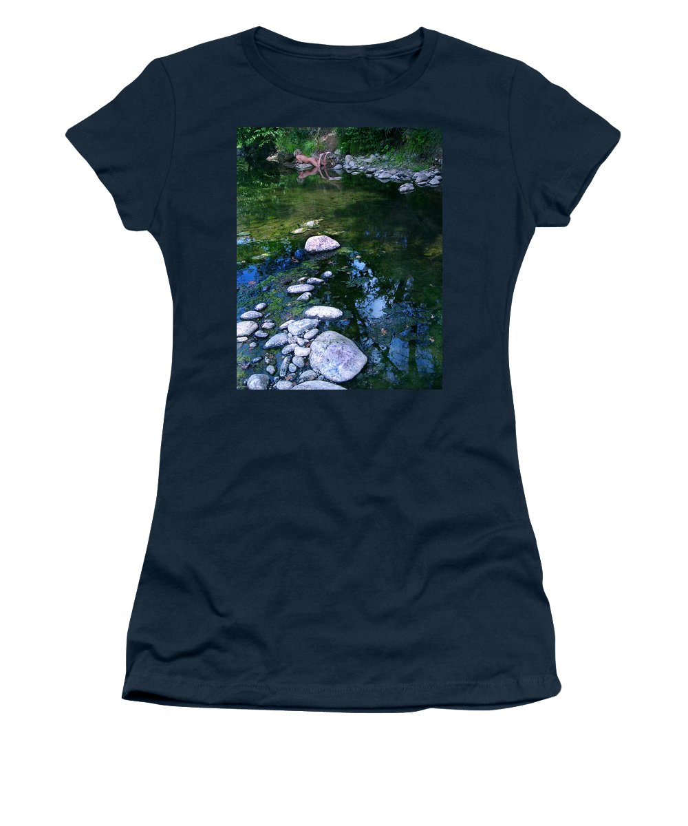 Woman Nude Photo Women's T-Shirt (Athletic Fit) featuring the photograph Kelly Nude by Peter Piatt