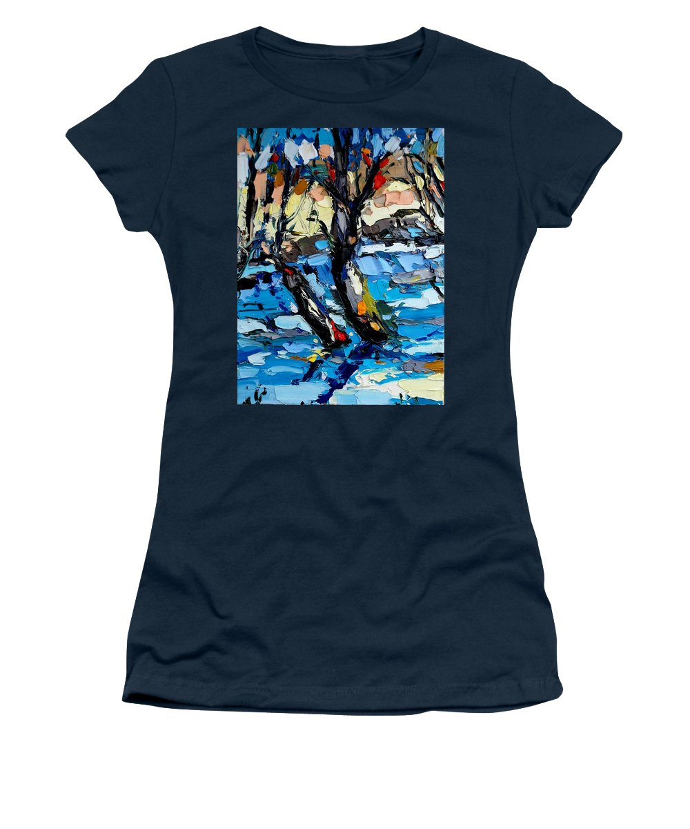 Landscape Women's T-Shirt (Athletic Fit) featuring the painting Landscape by Mentor Berisha