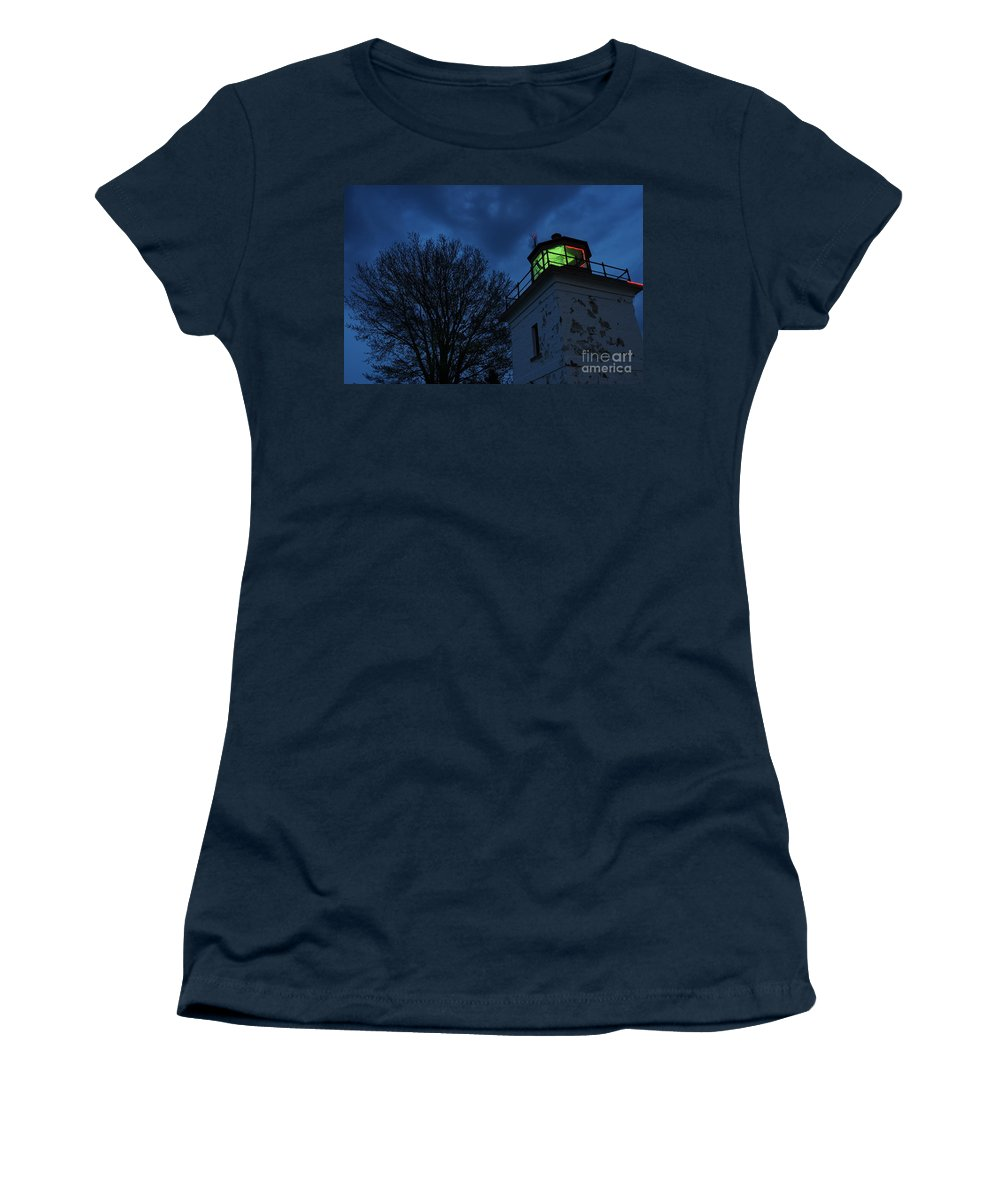 Beacon Women's T-Shirt (Athletic Fit) featuring the photograph Lighthouse At Night by Joe Ng