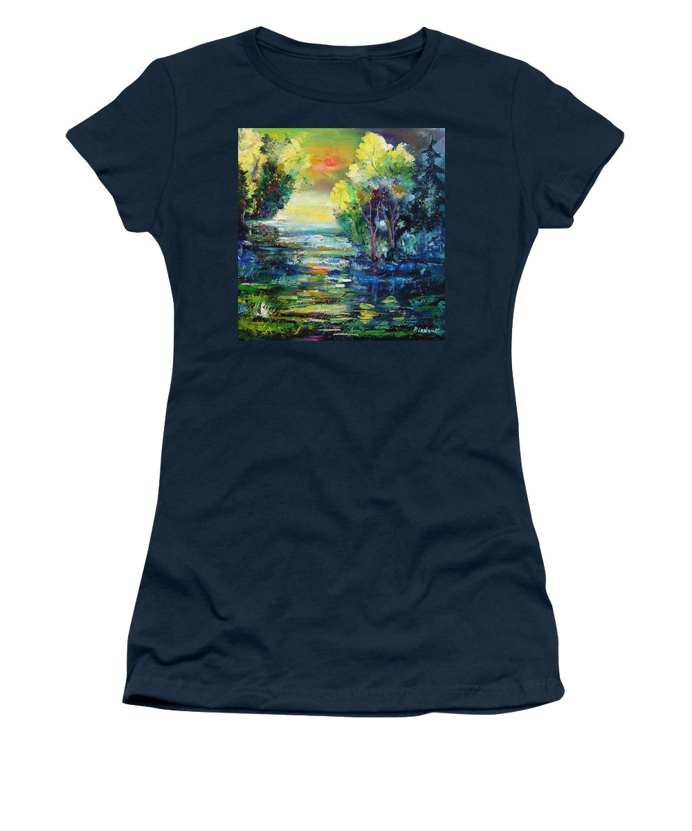 Pond Women's T-Shirt (Athletic Fit) featuring the painting Magic Pond by Pol Ledent