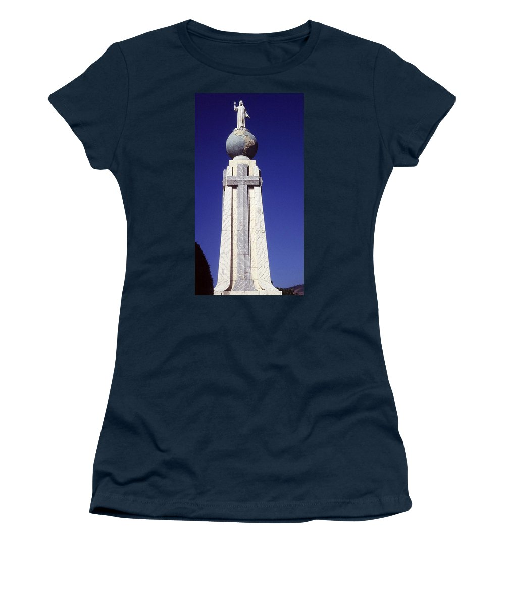 Central America Women's T-Shirt (Athletic Fit) featuring the photograph Monumento Al Divino Salvador Del Mundo by Juergen Weiss