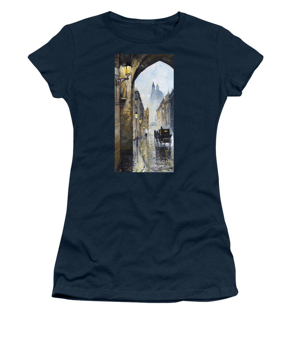 Prague Women's T-Shirt featuring the painting Prague Old Street 01 by Yuriy Shevchuk