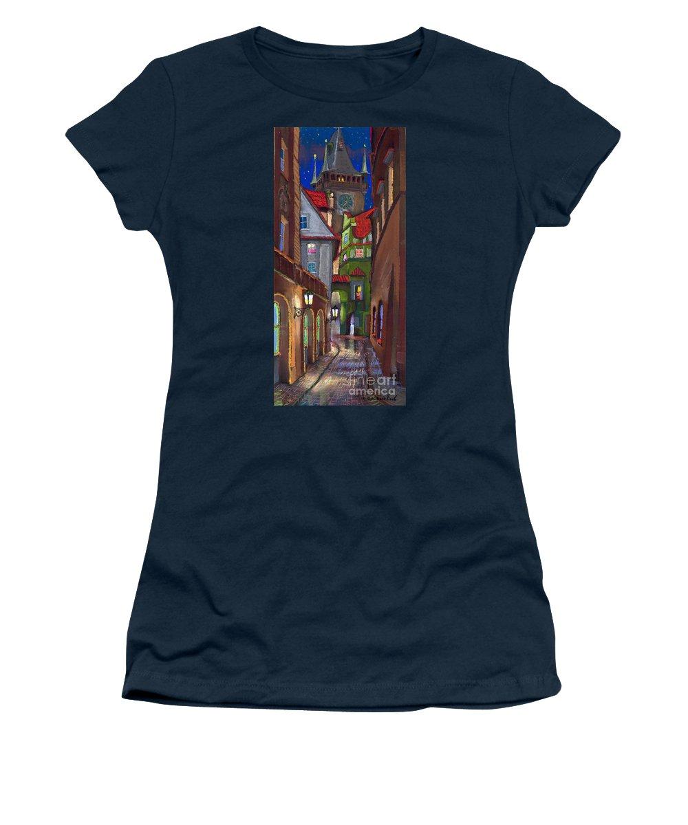 Pastel Women's T-Shirt featuring the painting Prague Old Street by Yuriy Shevchuk