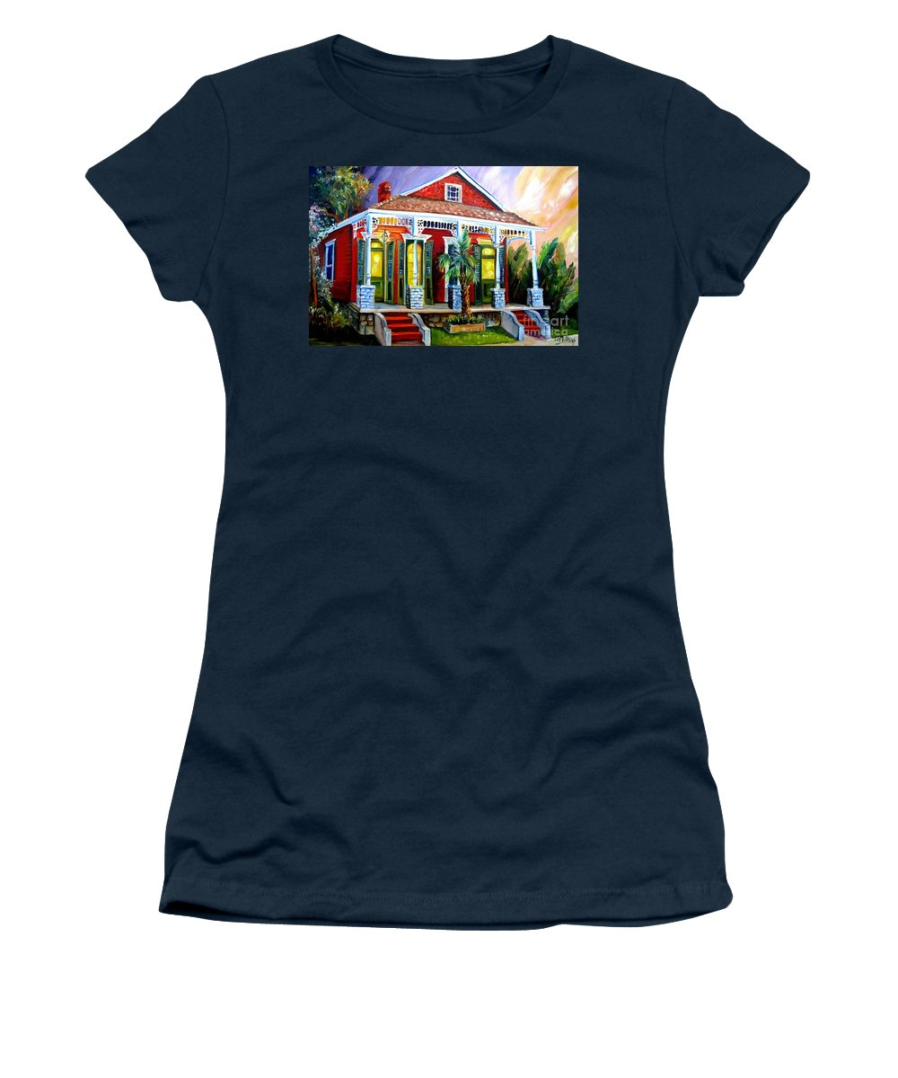 New Orleans Women's T-Shirt featuring the painting Red Shotgun House by Diane Millsap
