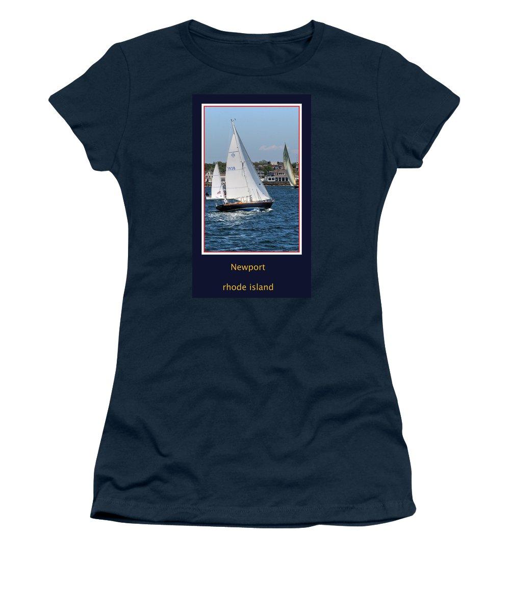 Rhode Island Women's T-Shirt featuring the photograph Sailing Newport by Tom Prendergast