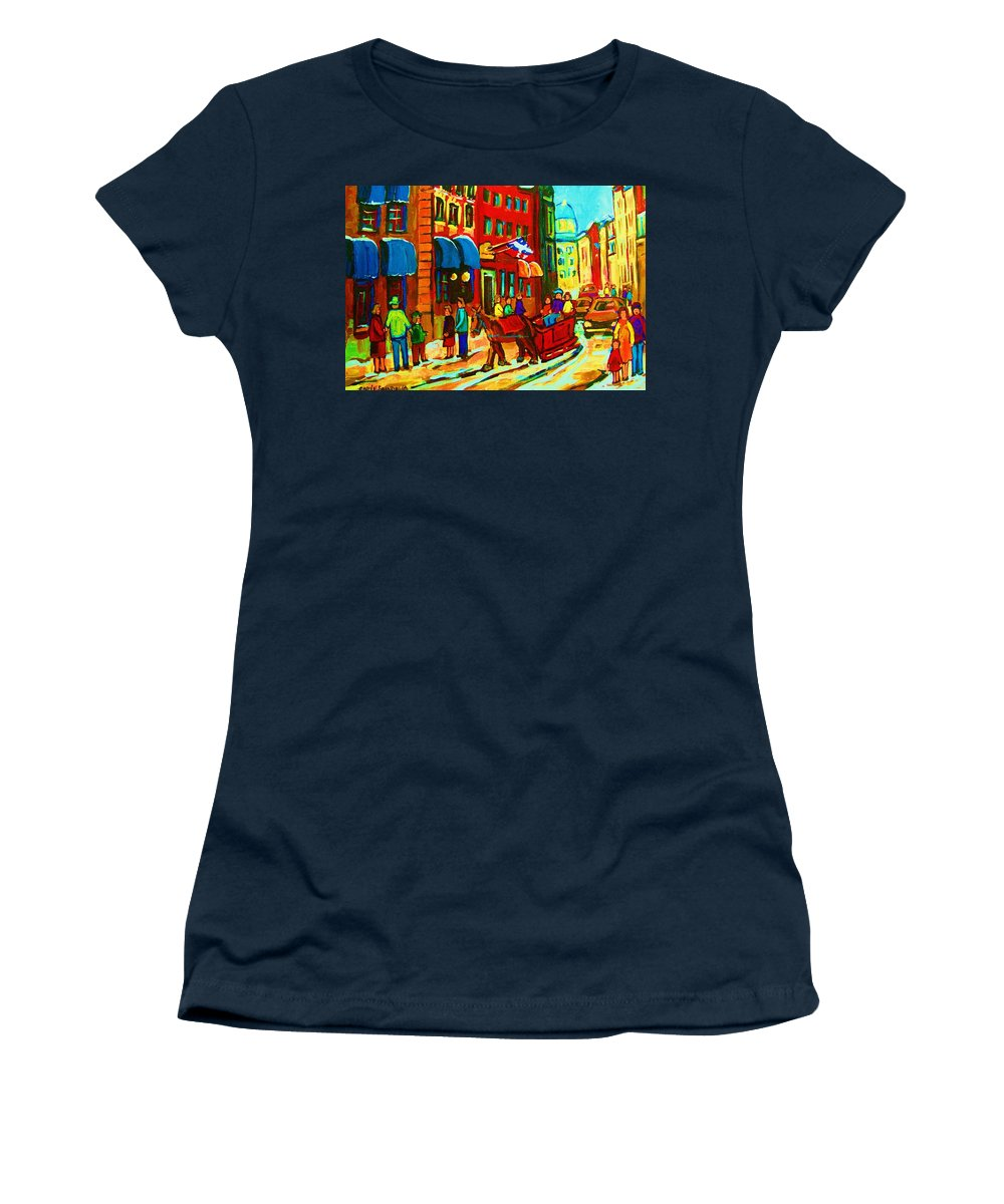 Montreal Women's T-Shirt (Athletic Fit) featuring the painting The Red Sled by Carole Spandau
