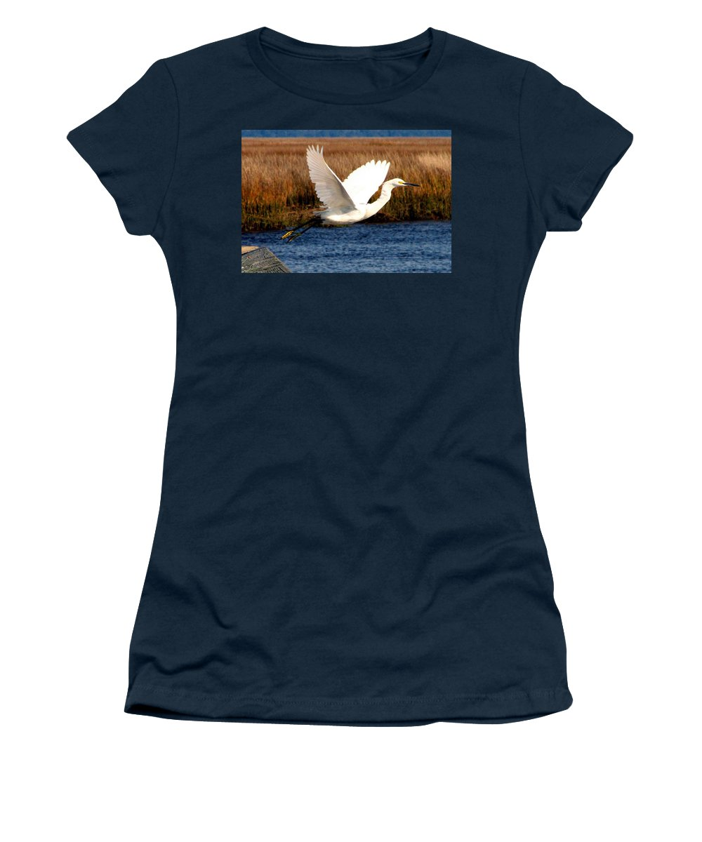 Egret Women's T-Shirt featuring the photograph The Takeoff by J M Farris Photography