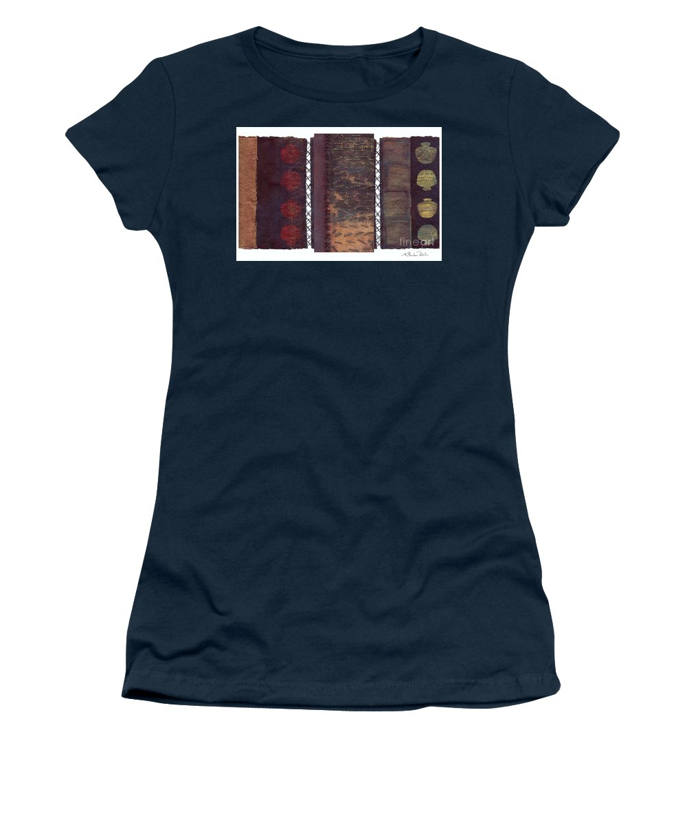 3panel Women's T-Shirt (Athletic Fit) featuring the painting Three Panel Transitional Page Format by Kerryn Madsen- Pietsch