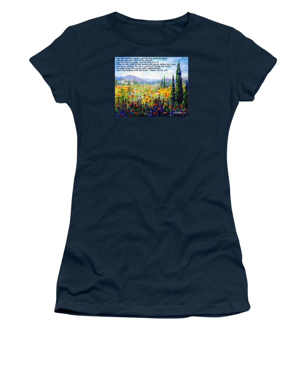Tuscany Women's T-Shirt (Athletic Fit) featuring the painting Tuscany Fields With Scripture by Lou Ann Bagnall