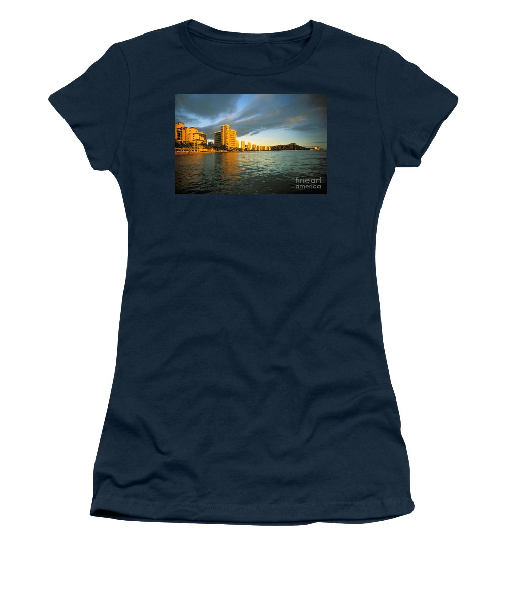 Architecture Women's T-Shirt featuring the photograph Twilight Waikiki by Peter French - Printscapes