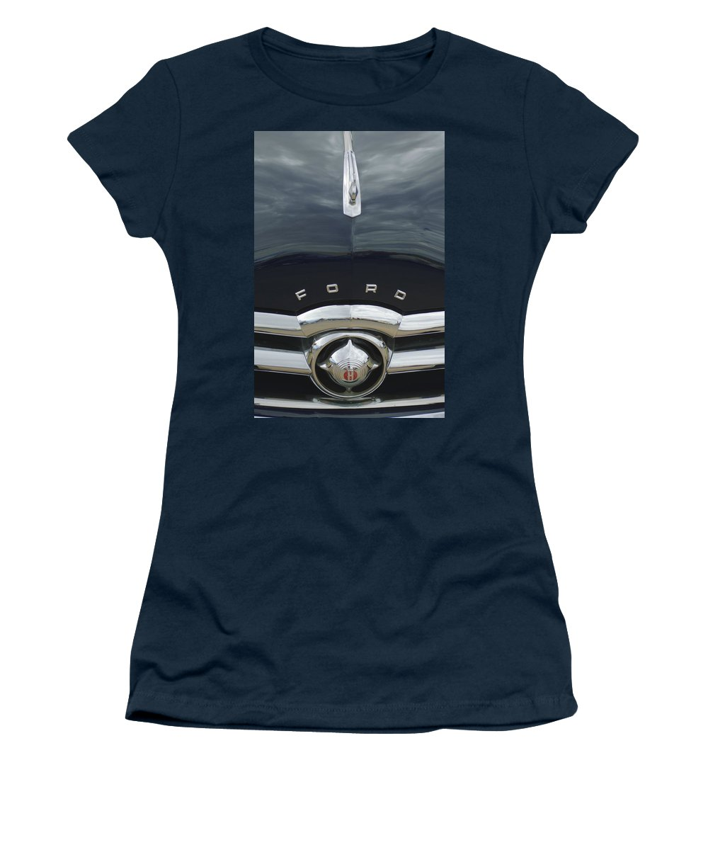 1949 Ford Women's T-Shirt (Athletic Fit) featuring the photograph 1949 Ford Hood Ornament 4 by Jill Reger