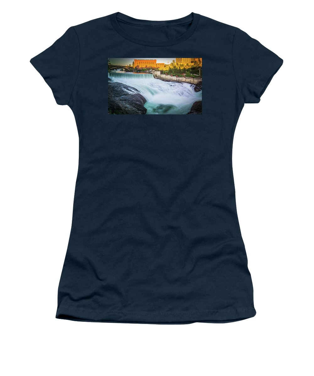 Water Women's T-Shirt featuring the photograph Falls And The Washington Water Power Building Along The Spokane by Alex Grichenko