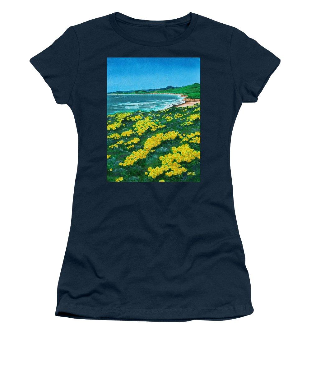 Jalama Women's T-Shirt featuring the painting Jalama Beach by Angie Hamlin