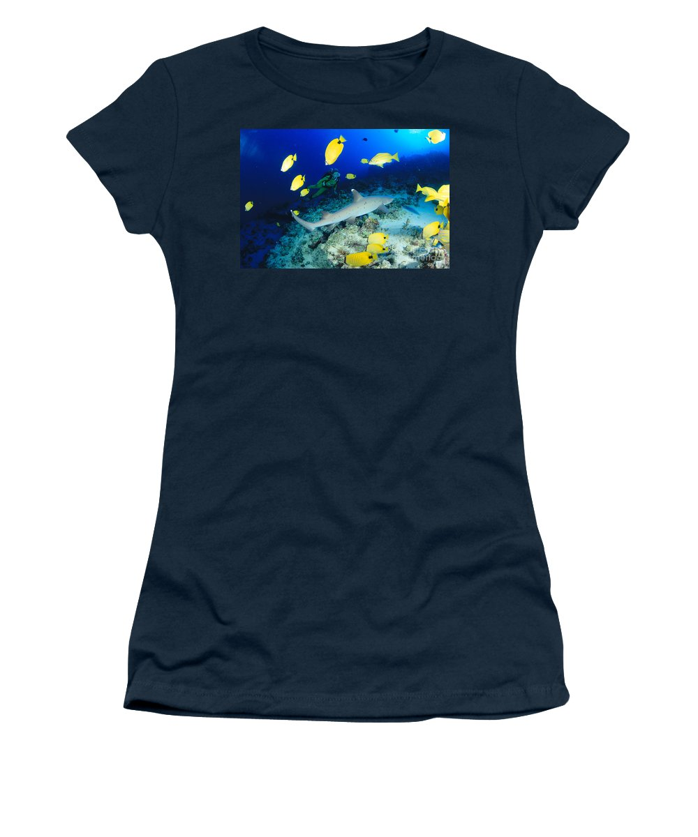 Adventure Women's T-Shirt featuring the photograph Whitetip Reef Shark by Dave Fleetham - Printscapes