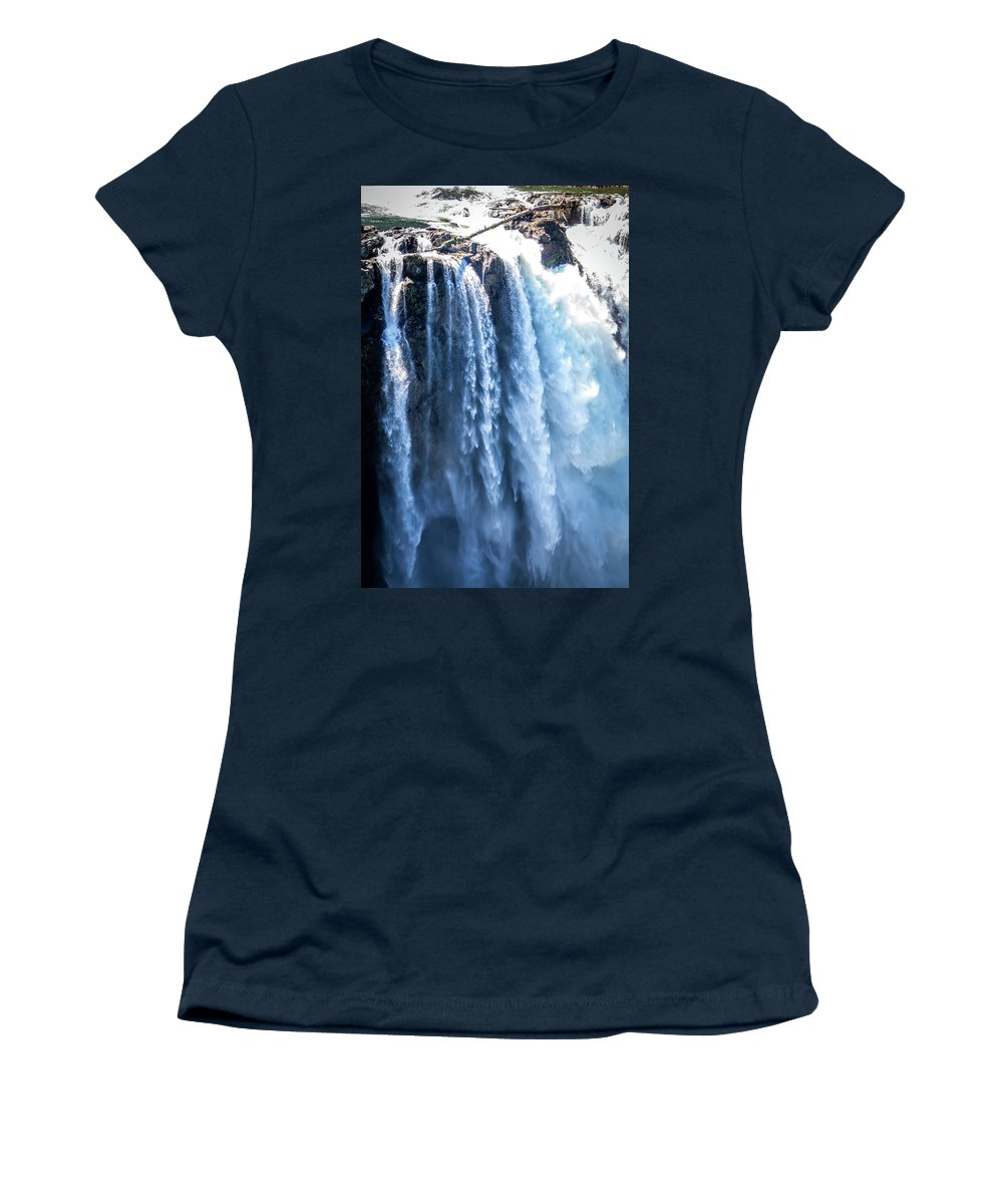 Snoqualmie Falls Women's T-Shirt (Athletic Fit) featuring the photograph Snoqualmie Falls Washington State Nature In Daylight by Alex Grichenko