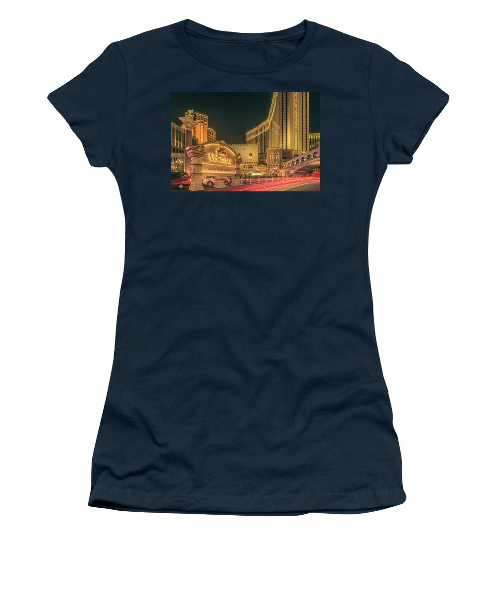 Casino Women's T-Shirt (Athletic Fit) featuring the photograph November 2017, Las Vegas Nevada - Architecture And Buildings At by Alex Grichenko