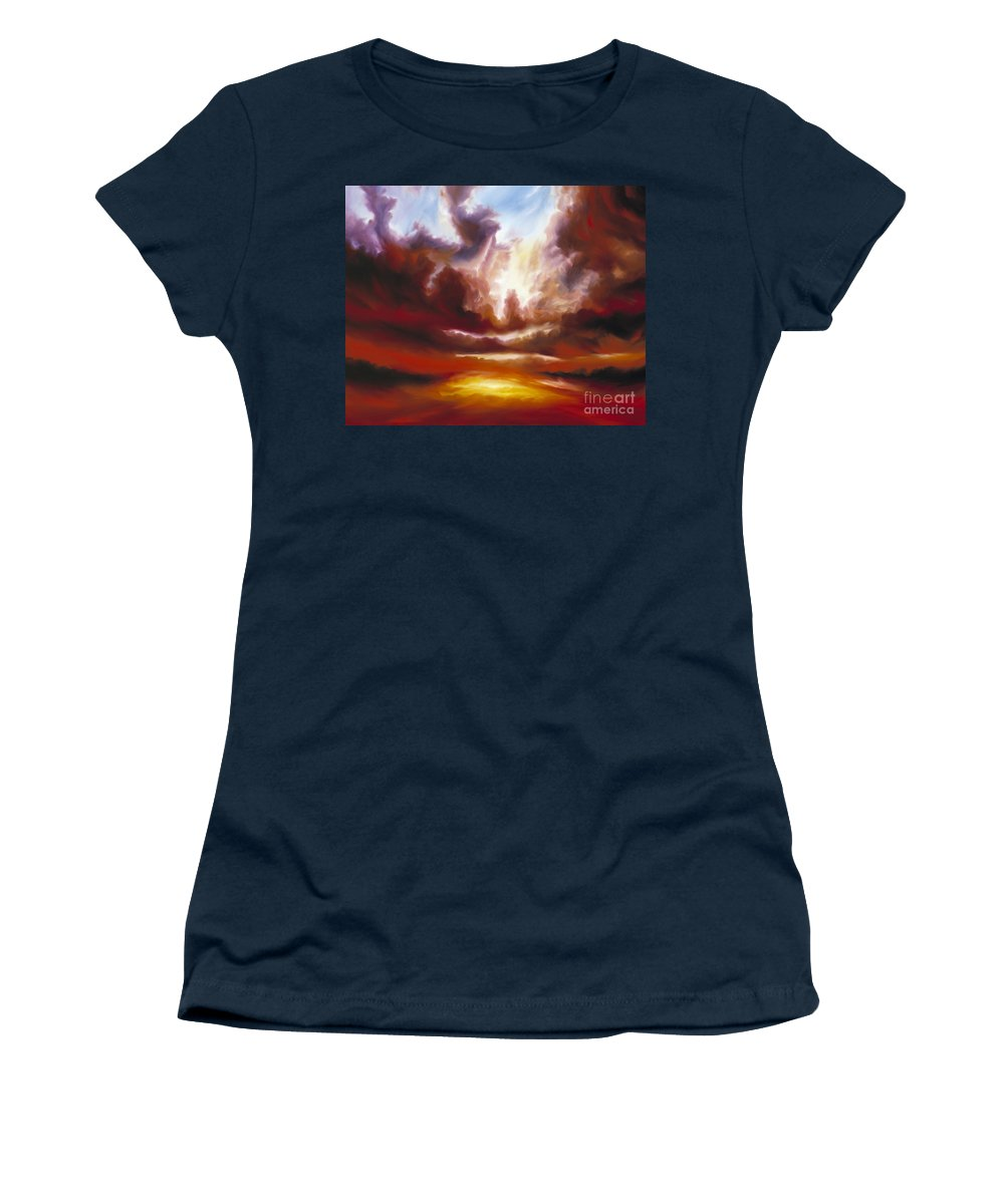 Tempest Women's T-Shirt featuring the painting A Cosmic Storm - Genesis V by James Christopher Hill