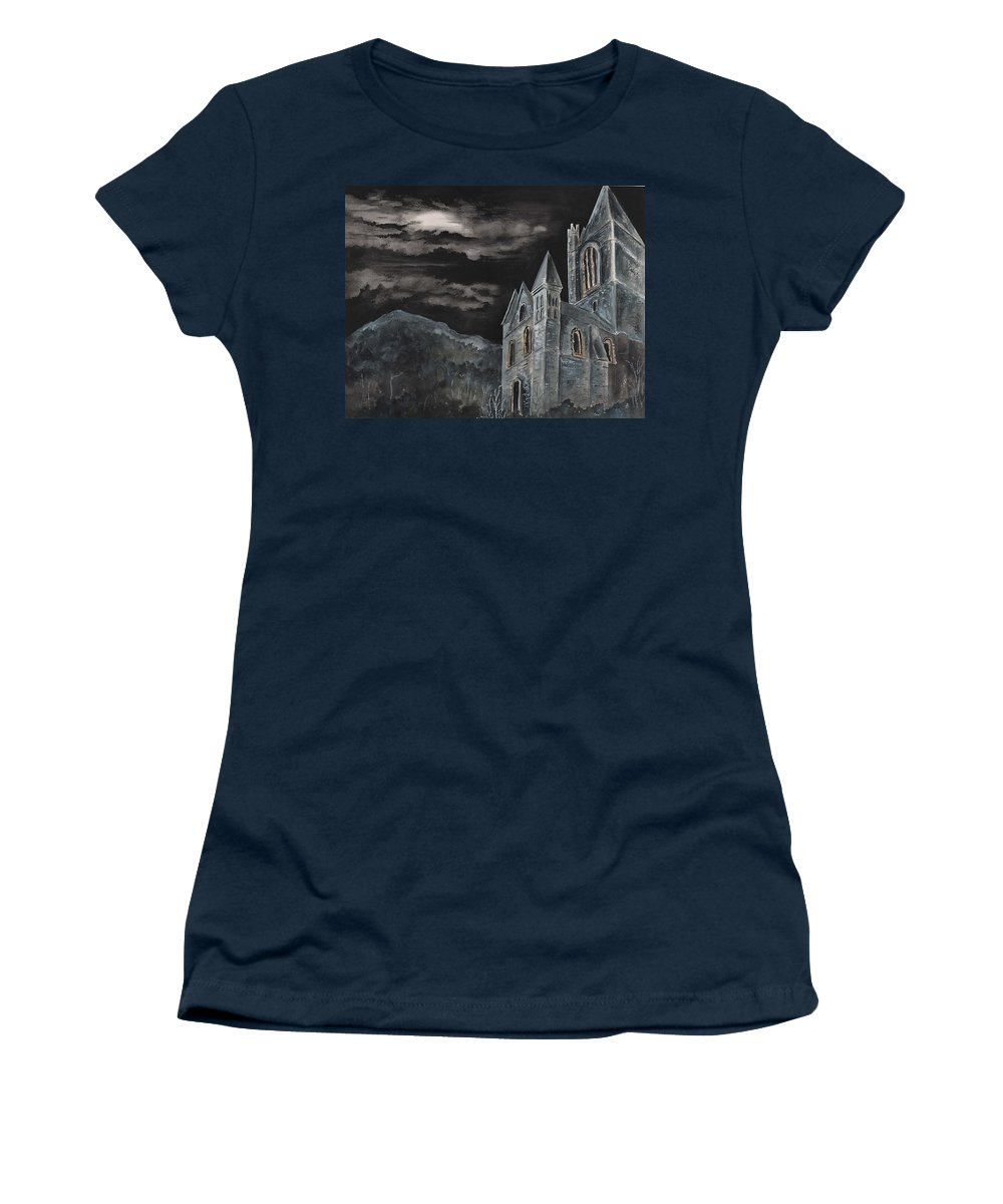 Landscape Gothic House Castle Church Dark Sky Watercolor Women's T-Shirt (Athletic Fit) featuring the painting A Dark Strange Night by Brenda Owen