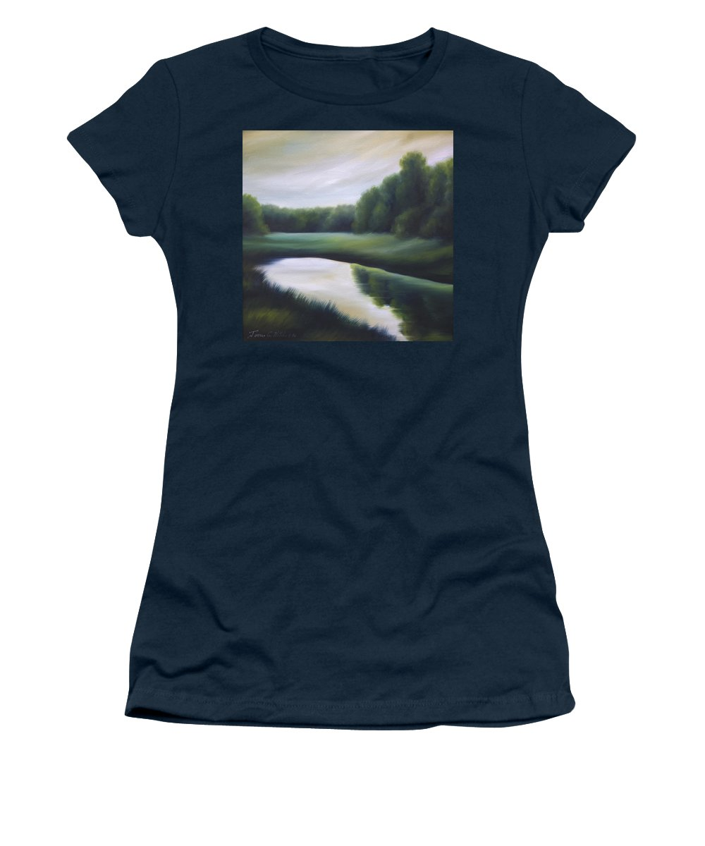 Nature; Lake; Sunset; Sunrise; Serene; Forest; Trees; Water; Ripples; Clearing; Lagoon; James Christopher Hill; Jameshillgallery.com; Foliage; Sky; Realism; Oils; Green; Tree Women's T-Shirt featuring the painting A Day In The Life 3 by James Christopher Hill
