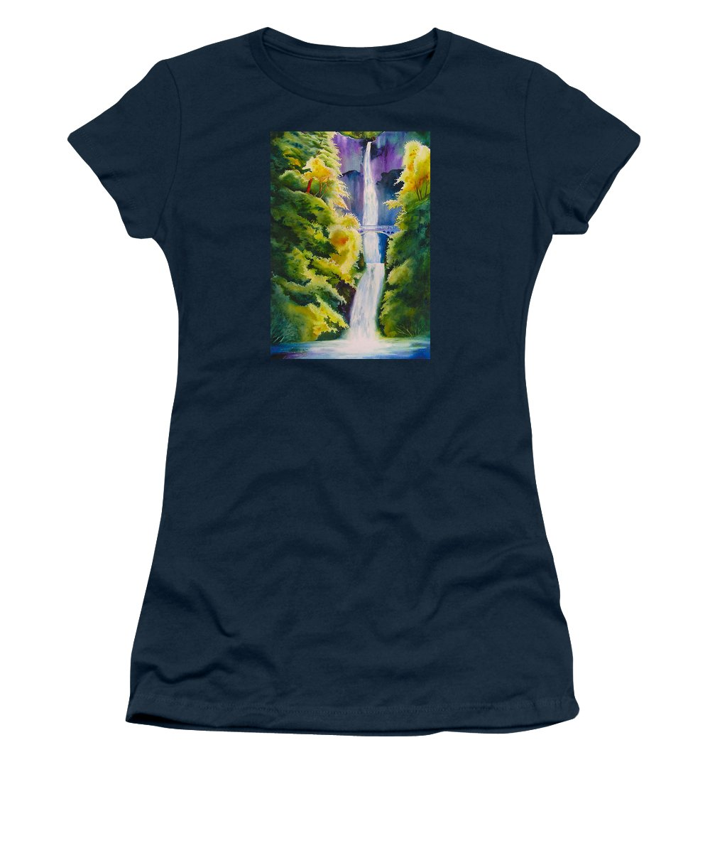 Waterfall Women's T-Shirt featuring the painting A Favorite Place by Karen Stark