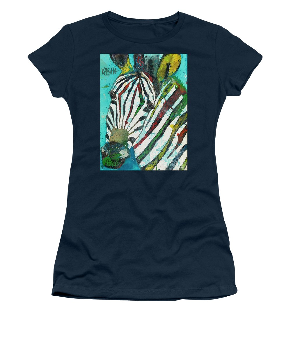 Zebra Women's T-Shirt featuring the painting A Horse Of A Different Color by Kasha Ritter