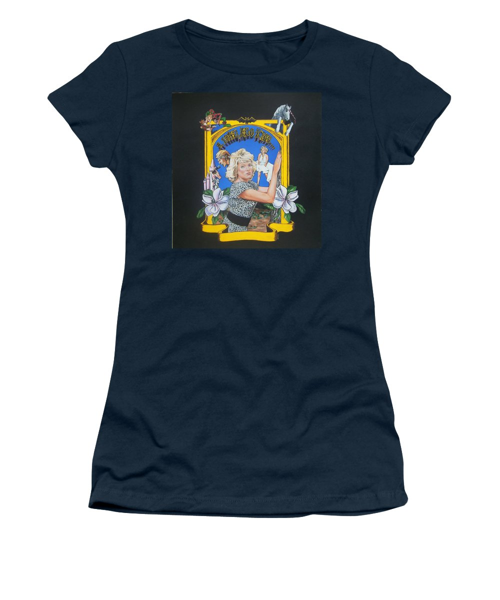 Unicorn Women's T-Shirt (Athletic Fit) featuring the painting A Long Ago Kiss by Bryan Bustard