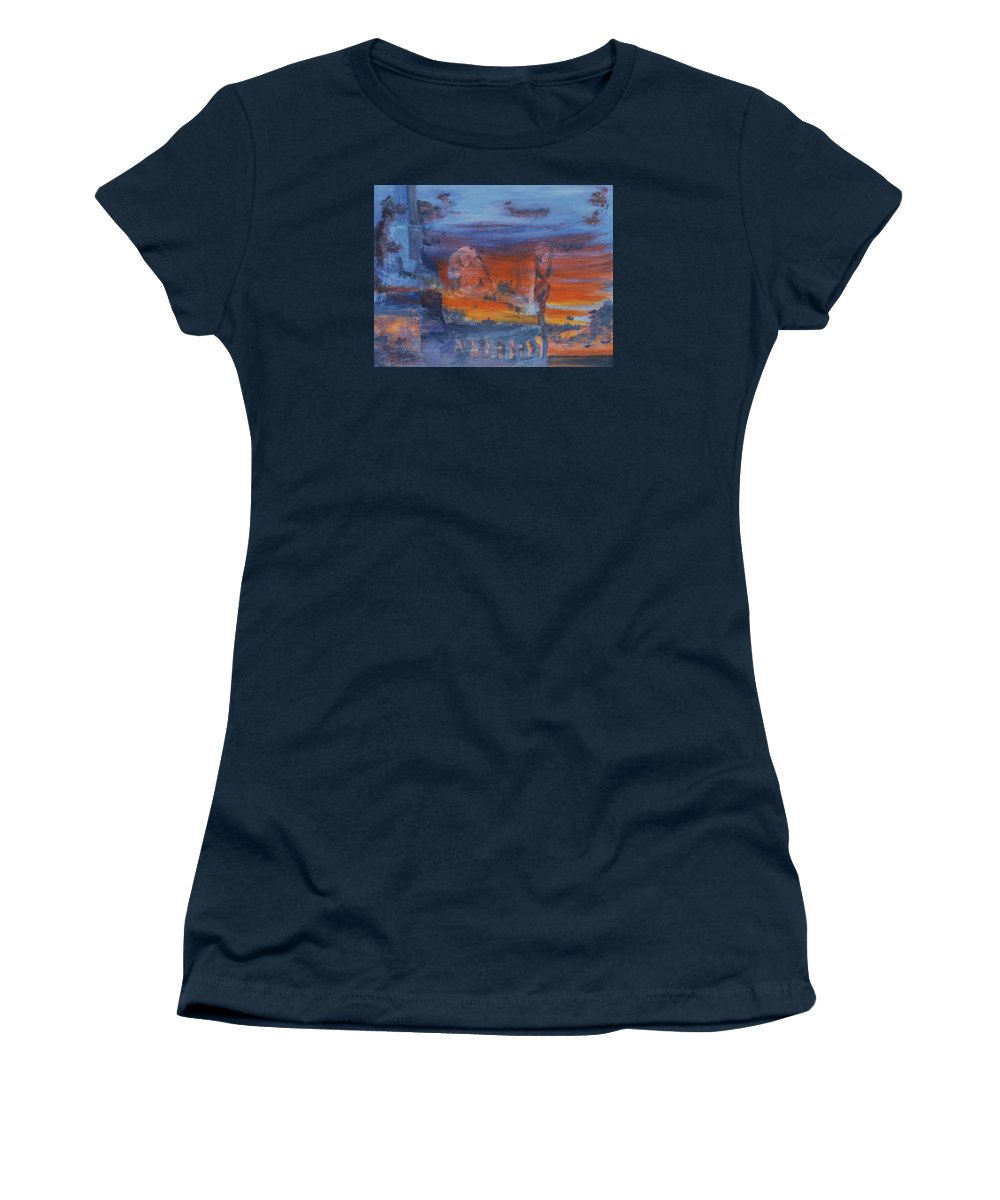 Abstract Women's T-Shirt featuring the painting A Mystery Of Gods by Steve Karol