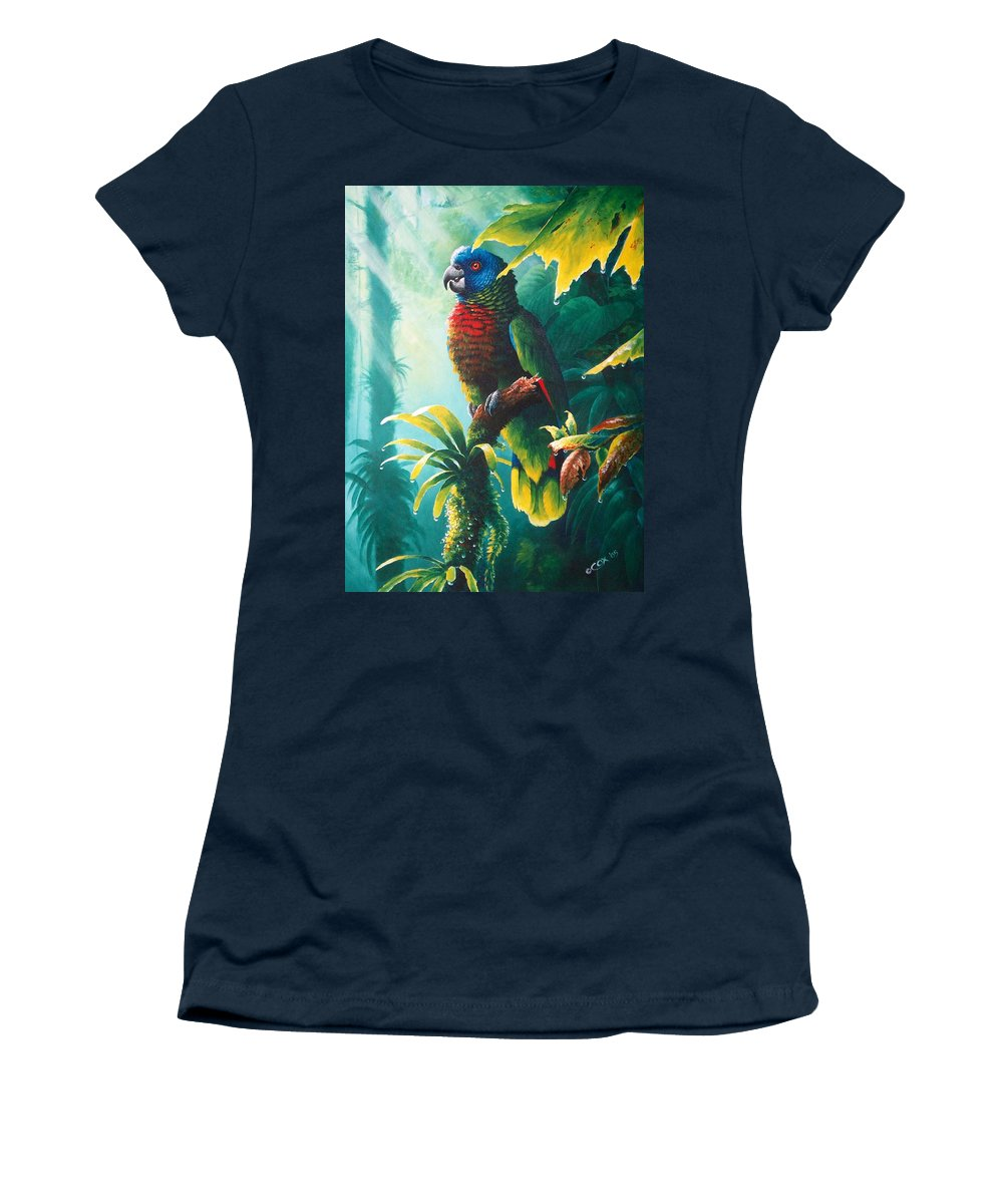 Chris Cox Women's T-Shirt (Athletic Fit) featuring the painting A Shady Spot - St. Lucia Parrot by Christopher Cox
