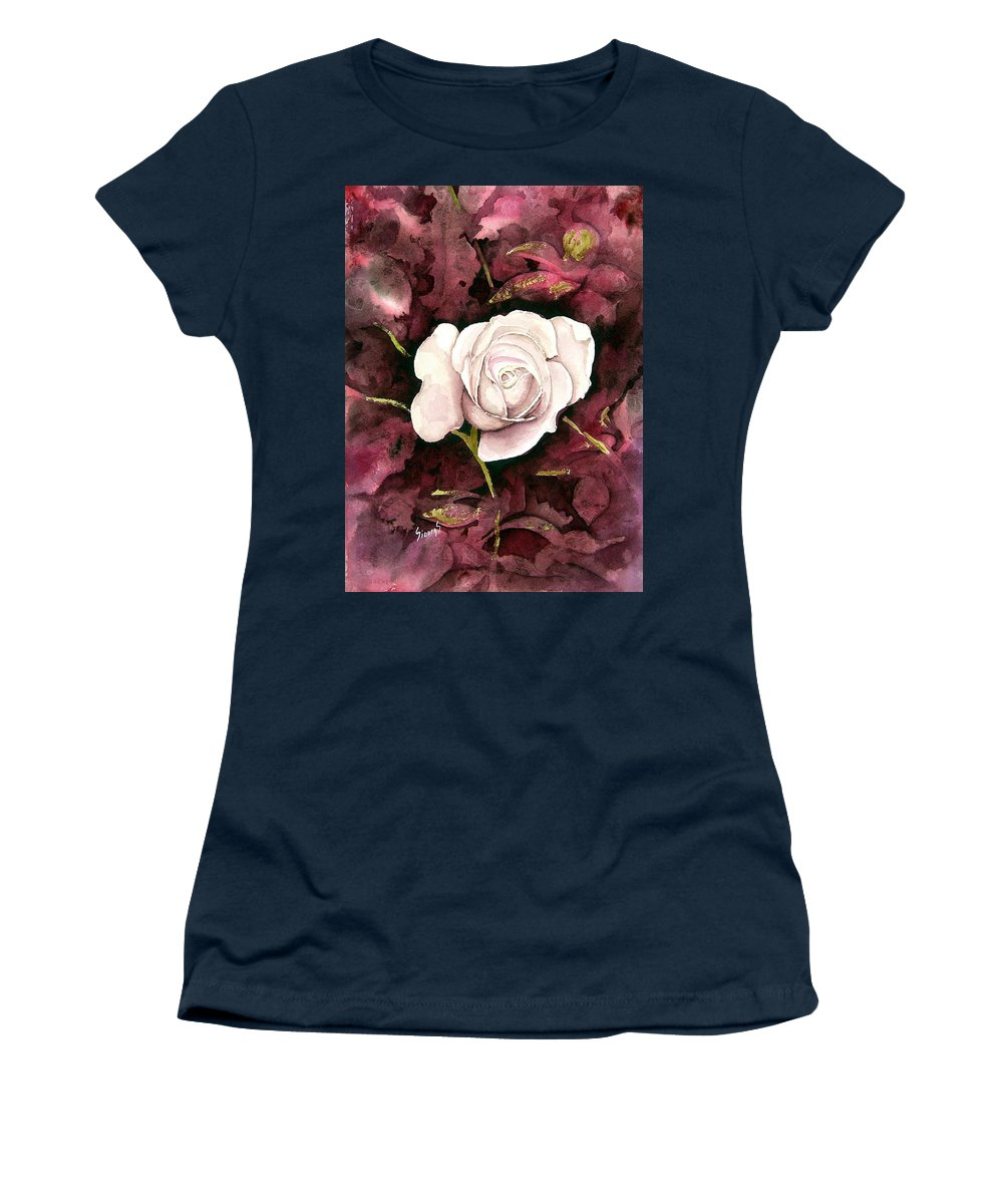 Flower Women's T-Shirt featuring the painting A White Rose by Sam Sidders